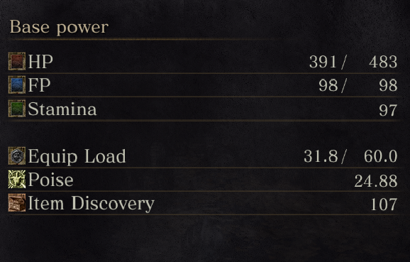 While hacking Dark Souls III, shows the player's health after getting smacked around a bit.