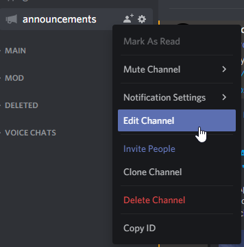 """Automatically posting WordPress posts to Discord will require us to edit our channel. Shows us clicking """"Edit Channel"""" on the channel we want announcements in."""