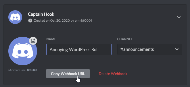 """Shows us clicking on """"Copy Webhook URL"""" in our new Webhook."""