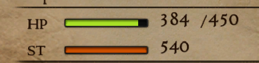 Shows the player's stamina bar and the numeric value for stamina at its maximum value in the Status screen.