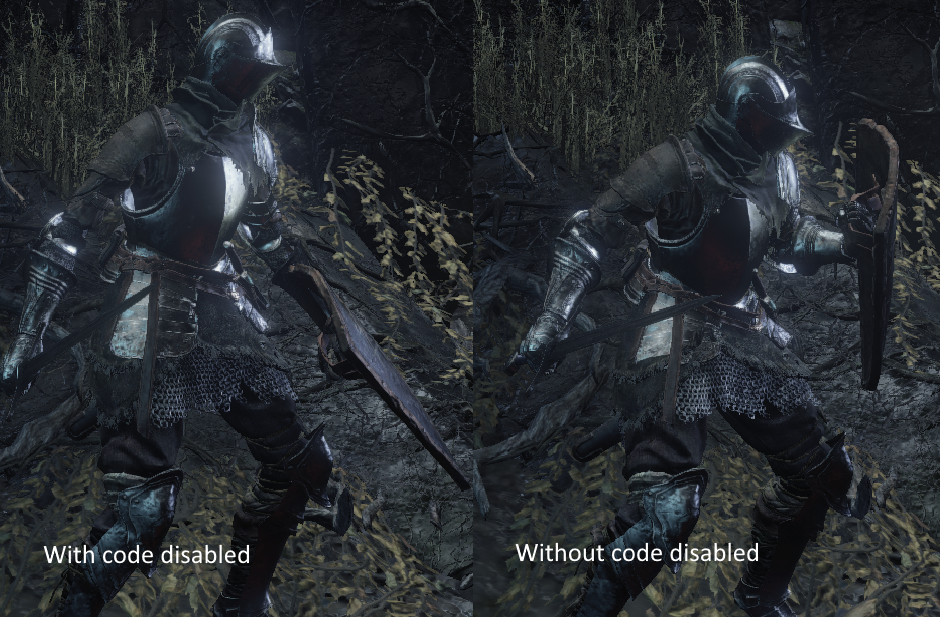 Shows the differences in height with the suspected height drawing code disabled and then enabled. The character is shown to be shorter when blocking with the code enabled.