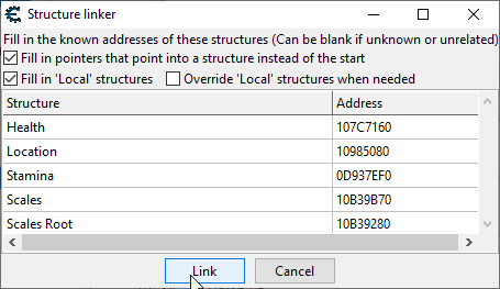 """Shows the configuration of the structure linker, with the """"Fill in 'Local' structures"""" checkbox checked, used in order to find a relation from our location structure to the scales structure."""