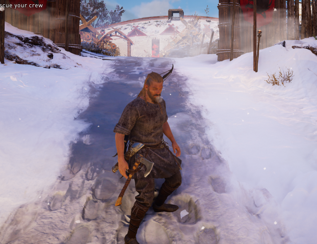 Shows the strong, sexy male warrior player standing confidently (as if he just got laid) on a piece of ground with a gentle slope downwards.
