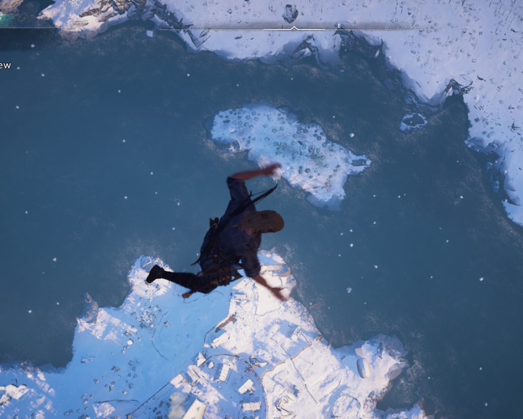 Here we see our dashing and unbelievably sexy warrior gazing down into the abyss he himself is falling into. To his death.