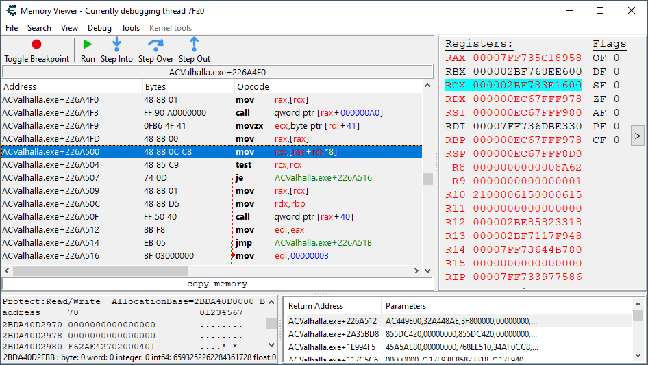 Shows the code where the base address of the health structure is being sourced from.