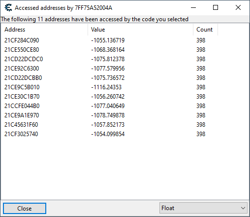 Shows the addresses being accessed by our NPC polling function. It is only accessing 11.