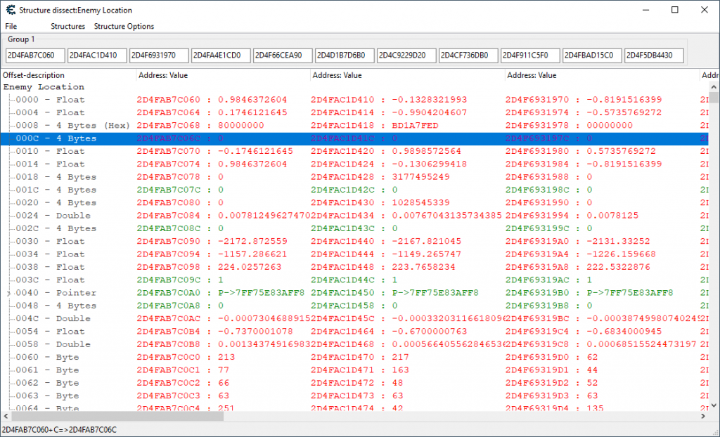 Shows a structure dissect window full of sample enemy location data.