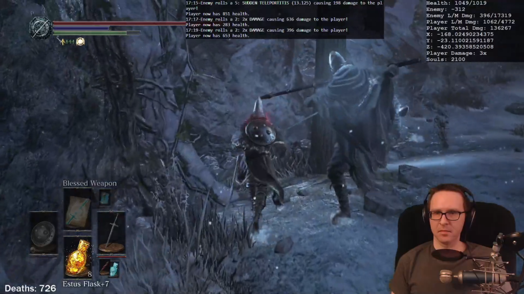 Shows a clip from Omnified Dark Souls III, a game with all three Omnified game-neutral systems implemented.