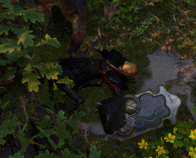 Shows the player character, either sleeping soundly in the grass, or very dead.