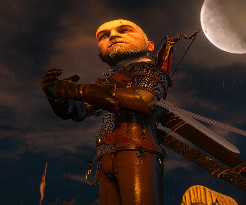 Shows a huge-headed Geralt.