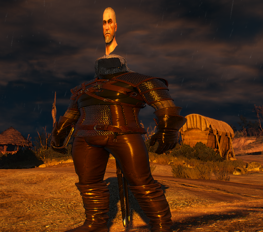 Shows a wider bodied, floating head Geralt.