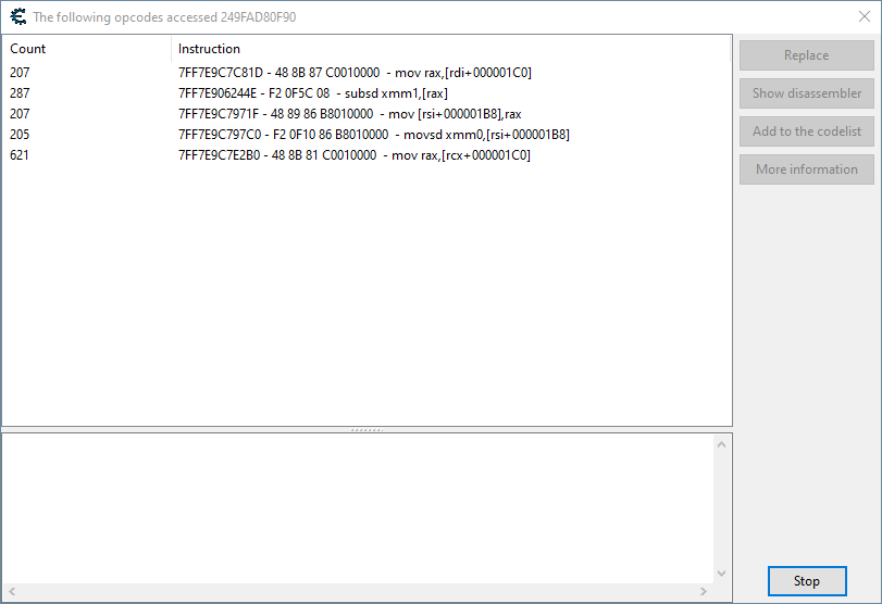 Shows the code accessing Ciri's actual coordinates