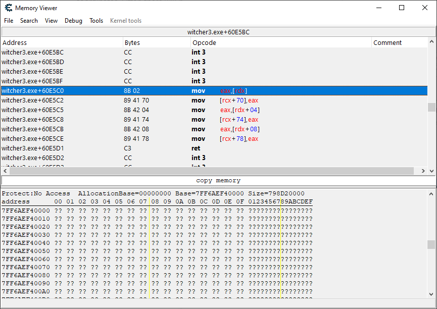 Shows the NPC location update code.