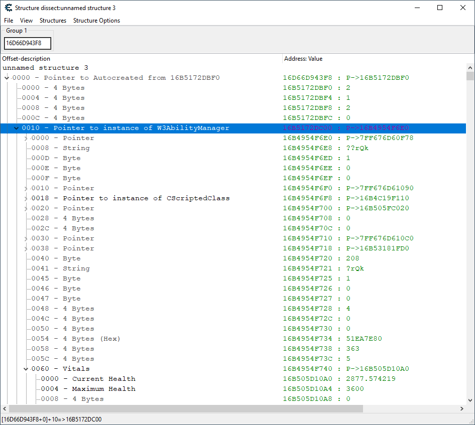 Shows the contents of the resolved data structure for our ability manager.