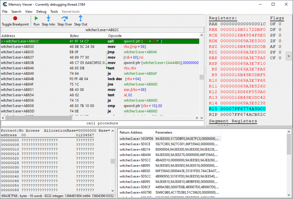 Shows execution stopped at lookup start with proper data discriminator for ability manager.