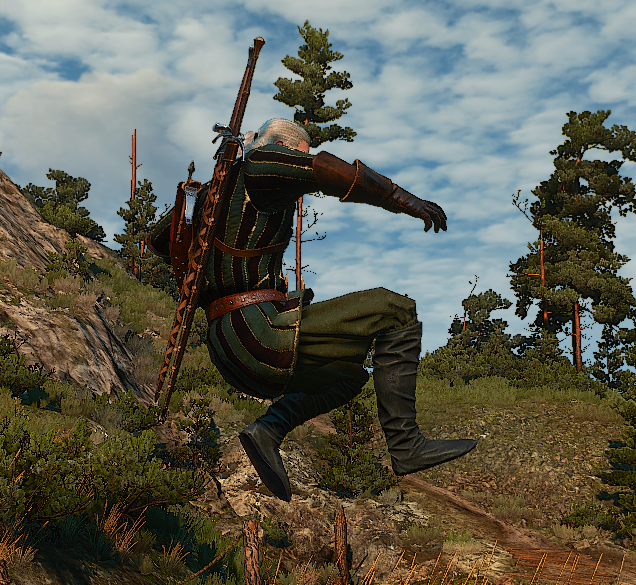 Geralt essentially crouches mid-air while jumping.