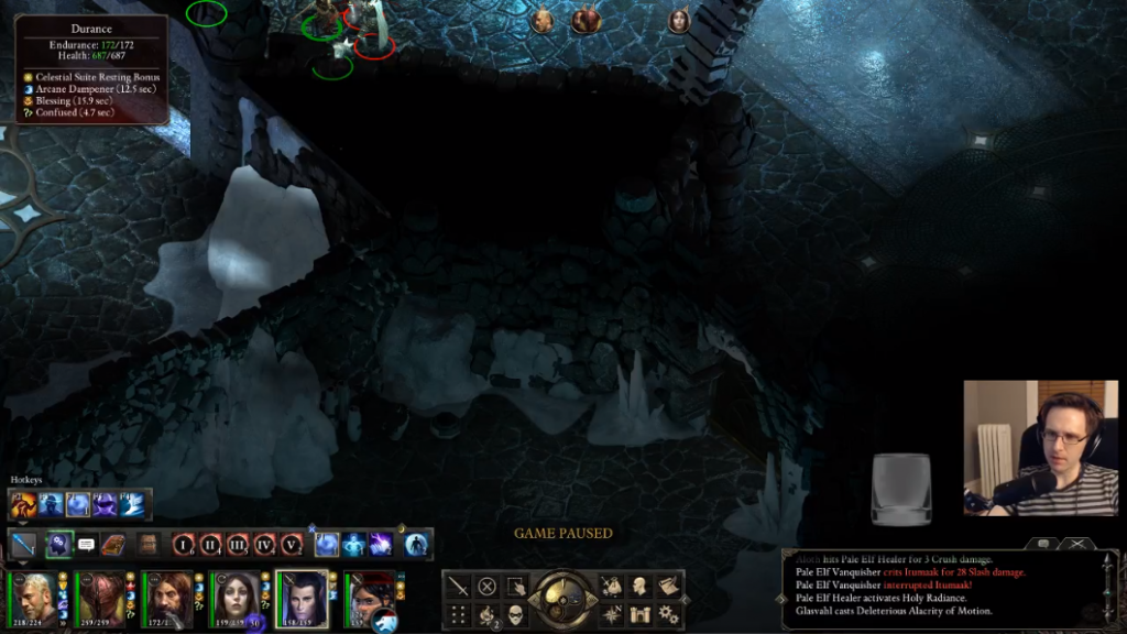 Omni playing Pillars of Eternity with an empty tip jar.
