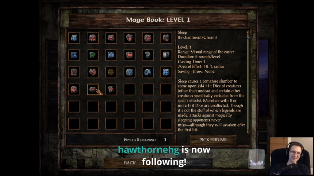 Omni playing Icewind Dale post-raid, with a follower notification displayed.