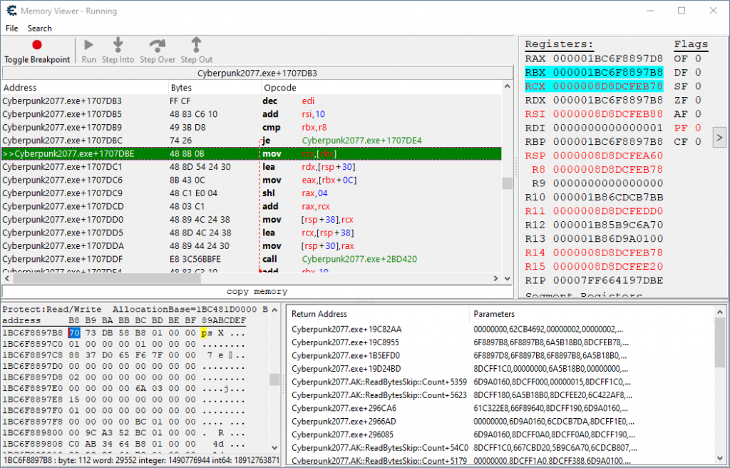 Shows the code in the disassembler window that reads the health and other percentages.