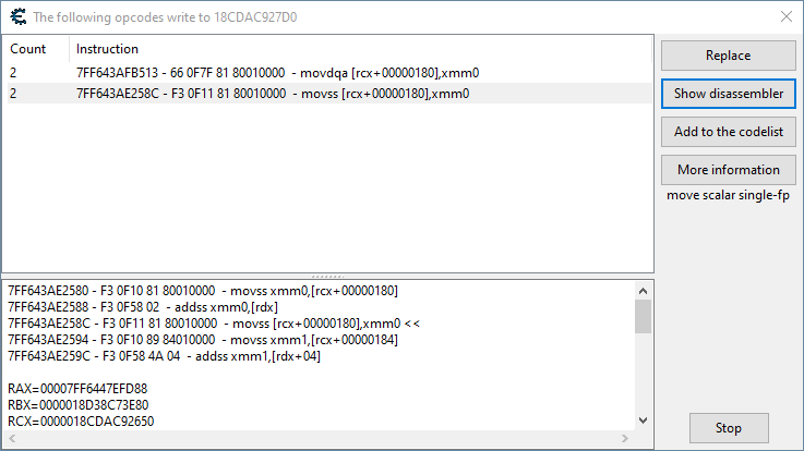 Shows the code writing to the source of new location coordinates.