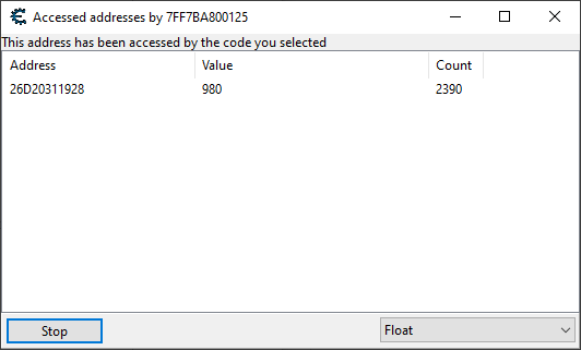 Shows a single stamina address being accessed.