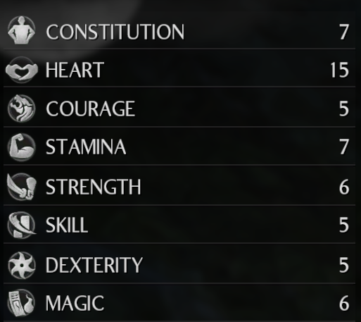 Shows the listing of all the player's stats in the Status menu.